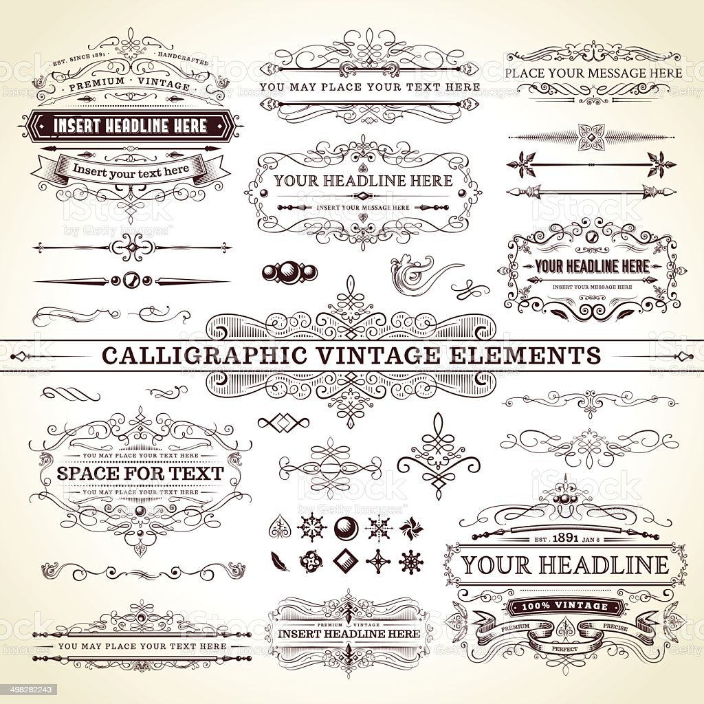Calligraphic Vintage Elements - Complete Set vector art illustration
