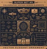 Calligraphic vintage elements. Vector baroque set. Design icons