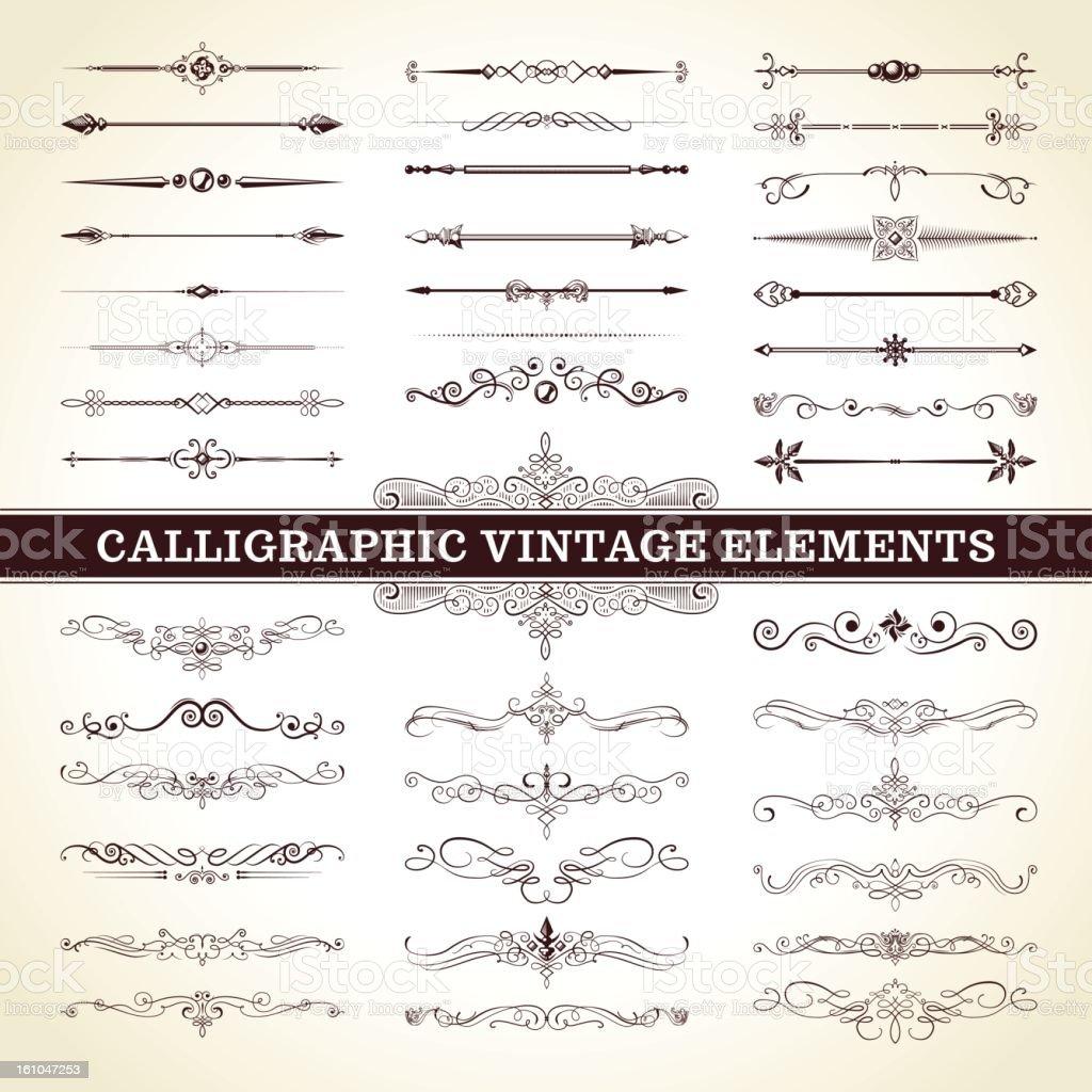 Calligraphic Vintage Elements vector art illustration