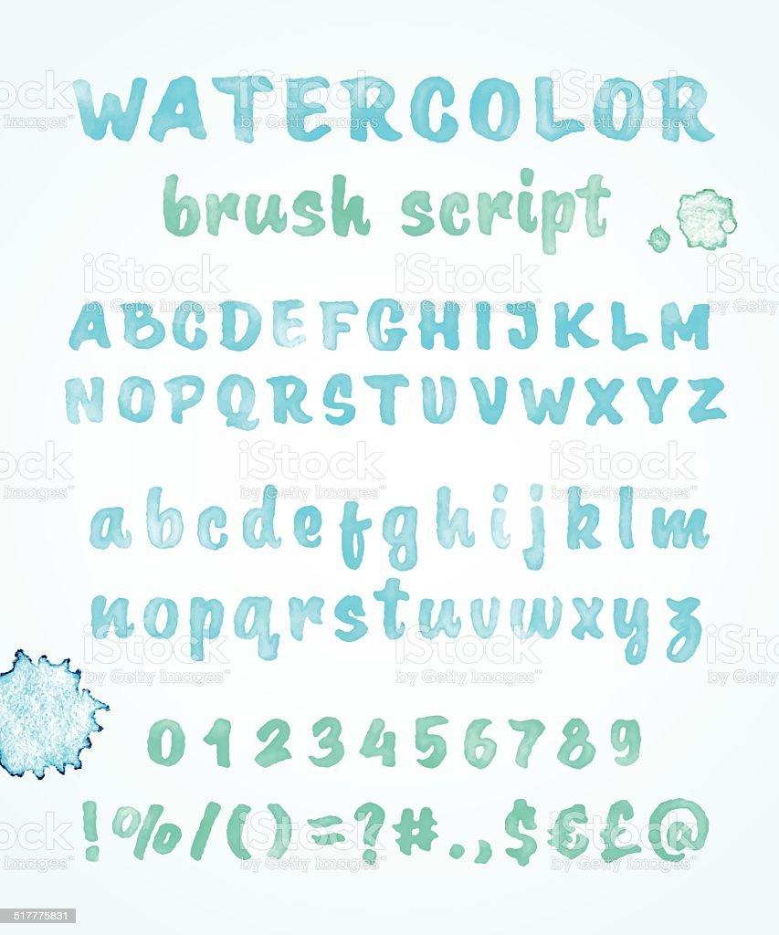 Calligraphic watercolor vector alphabet vector art illustration