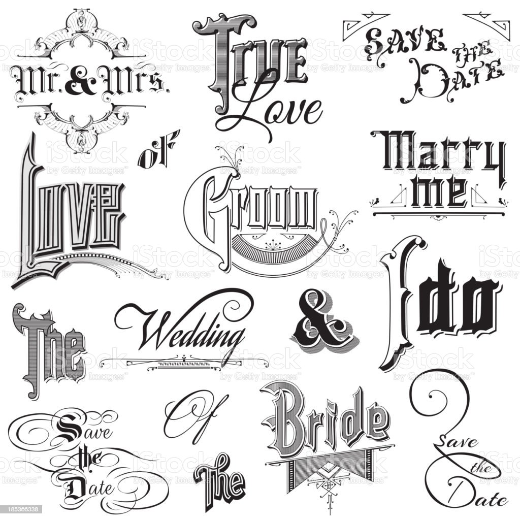 Calligraphic Wedding Elements royalty-free stock vector art