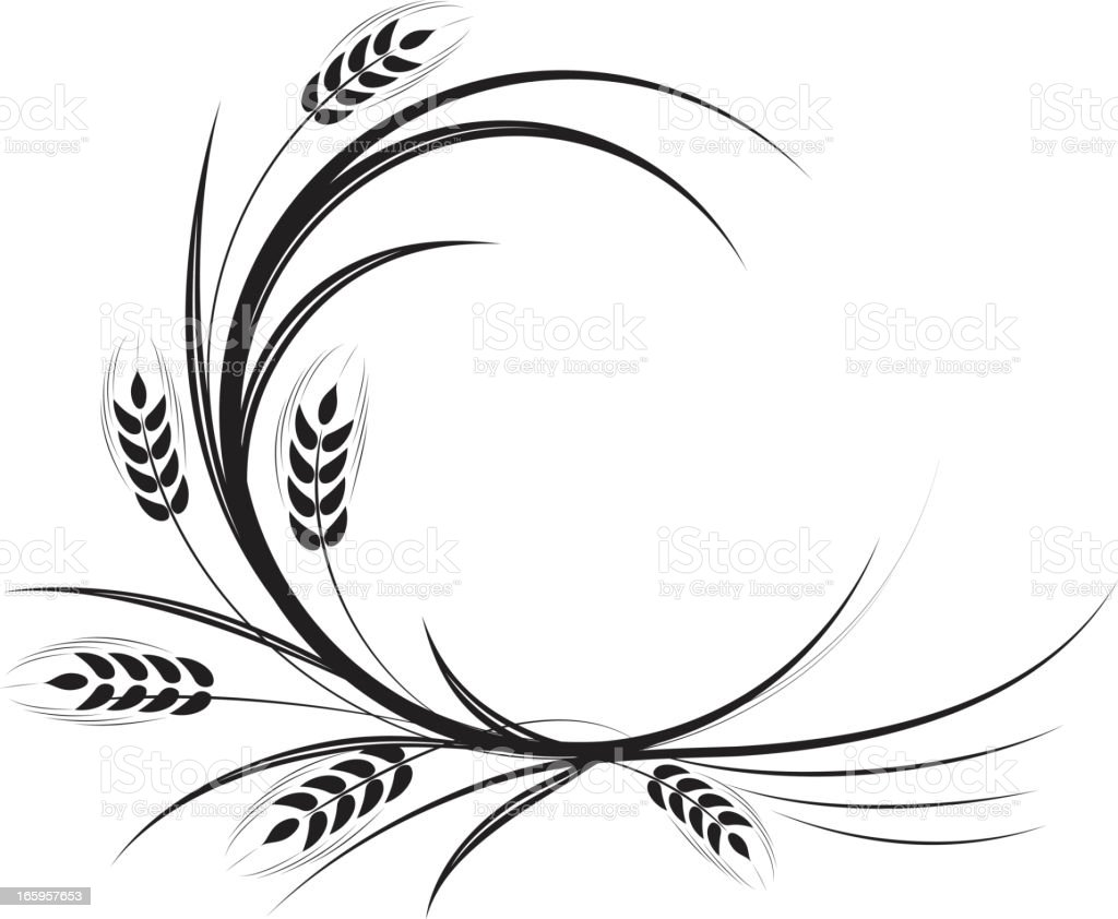 Calligraphic Wheat Ornament royalty-free stock vector art