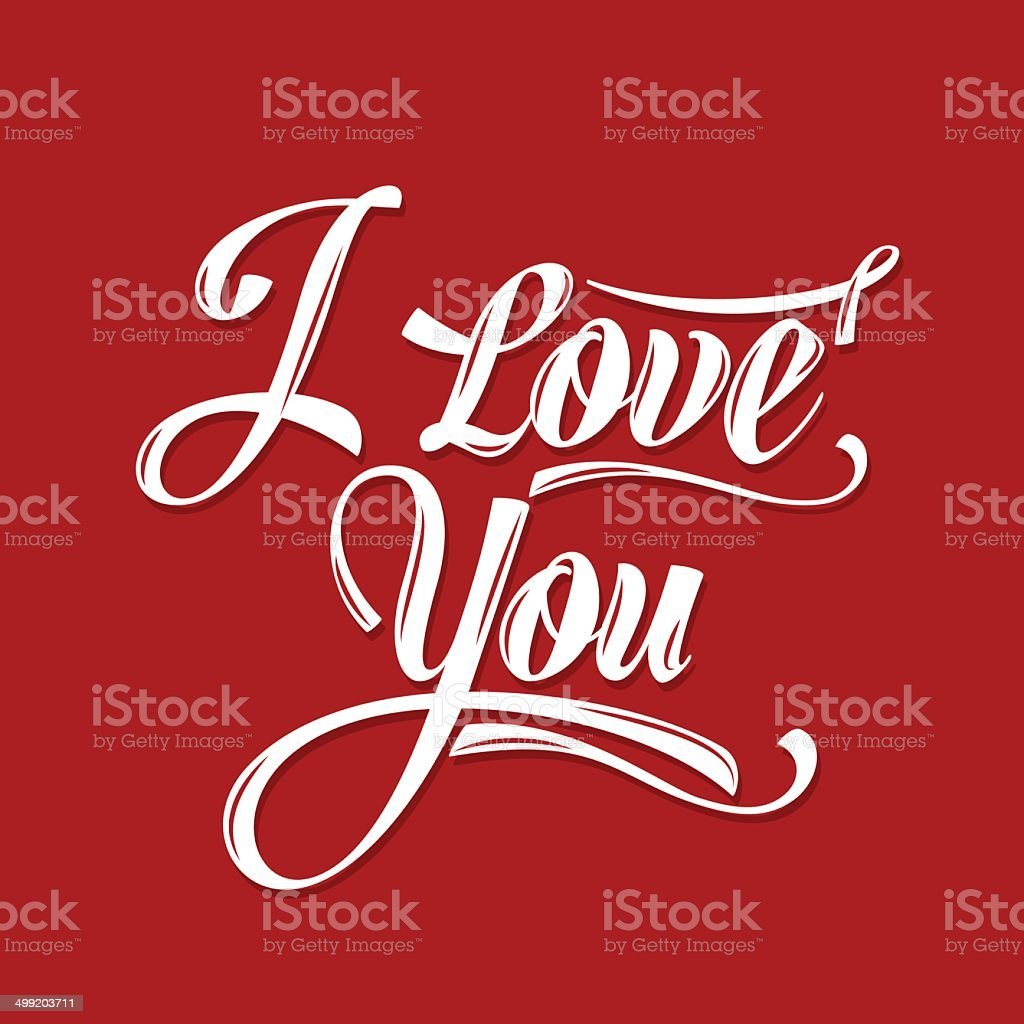 Calligraphic  Writing 'i love you' royalty-free stock vector art