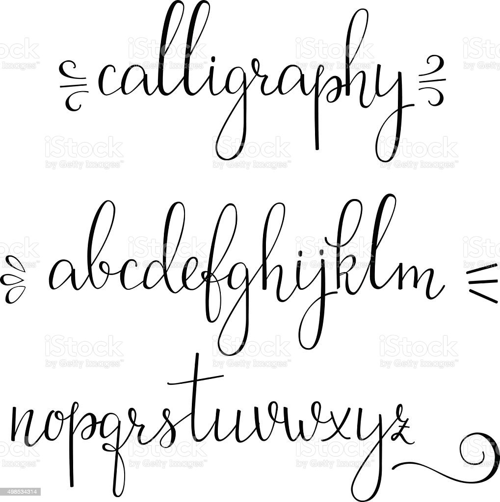 Calligraphy cursive font vector art illustration