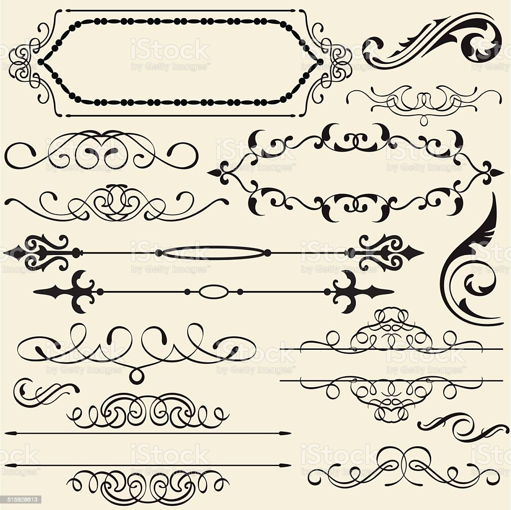 Calligraphy design set vector art illustration
