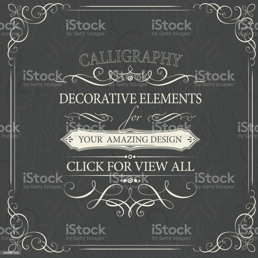 calligraphy elements vector art illustration