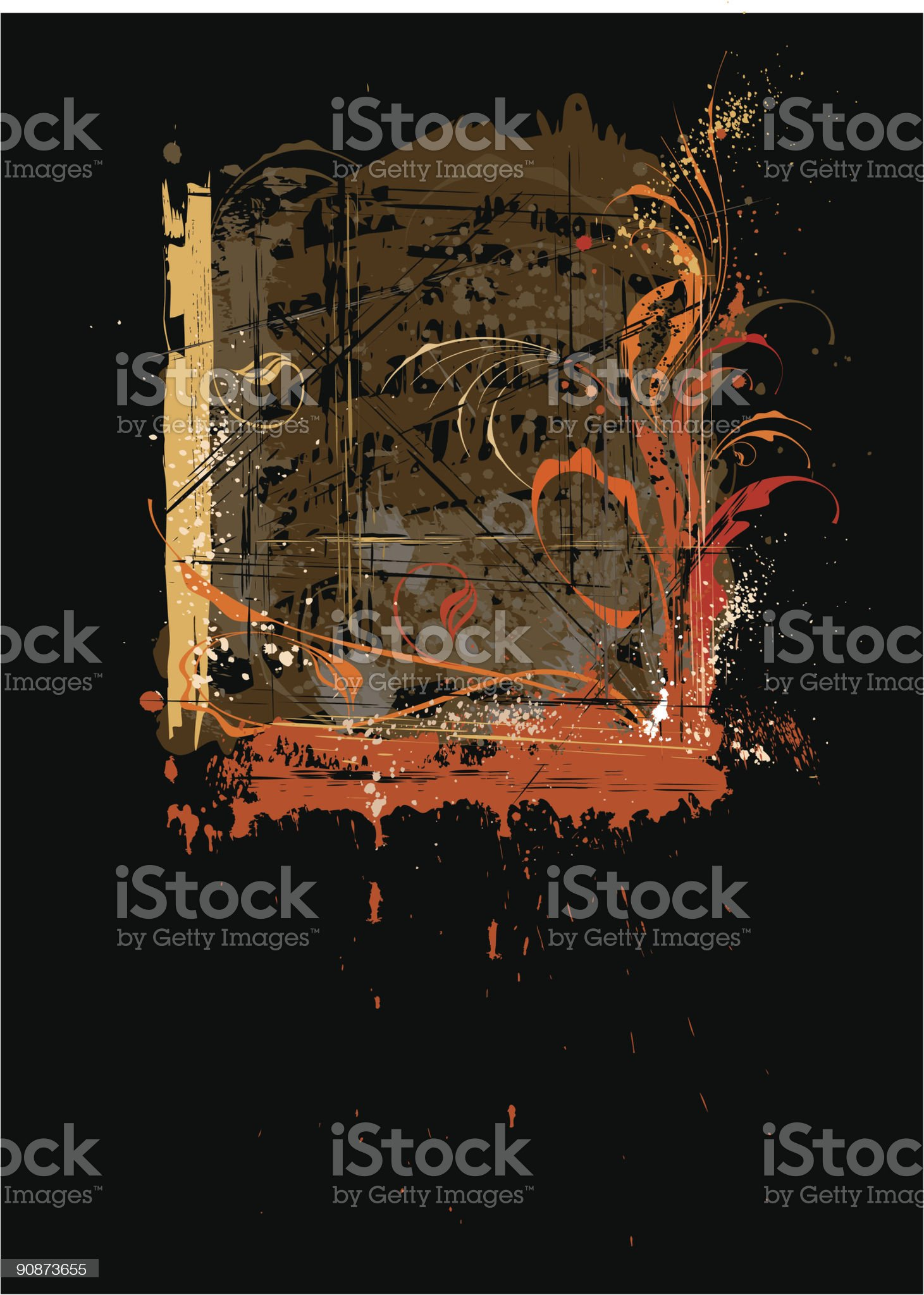 calligraphy flowers ornament on grunge background royalty-free stock vector art