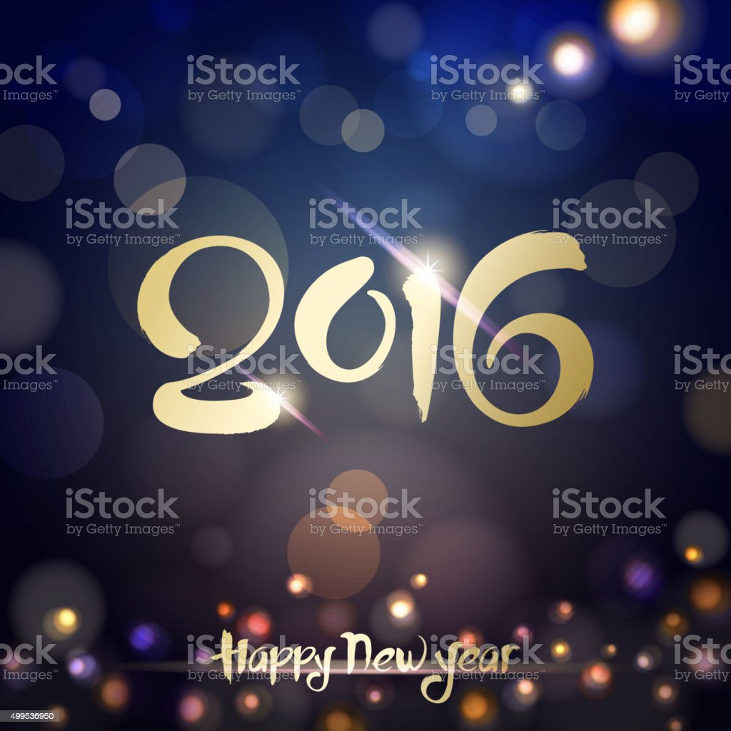 2016 calligraphy new year night vector art illustration