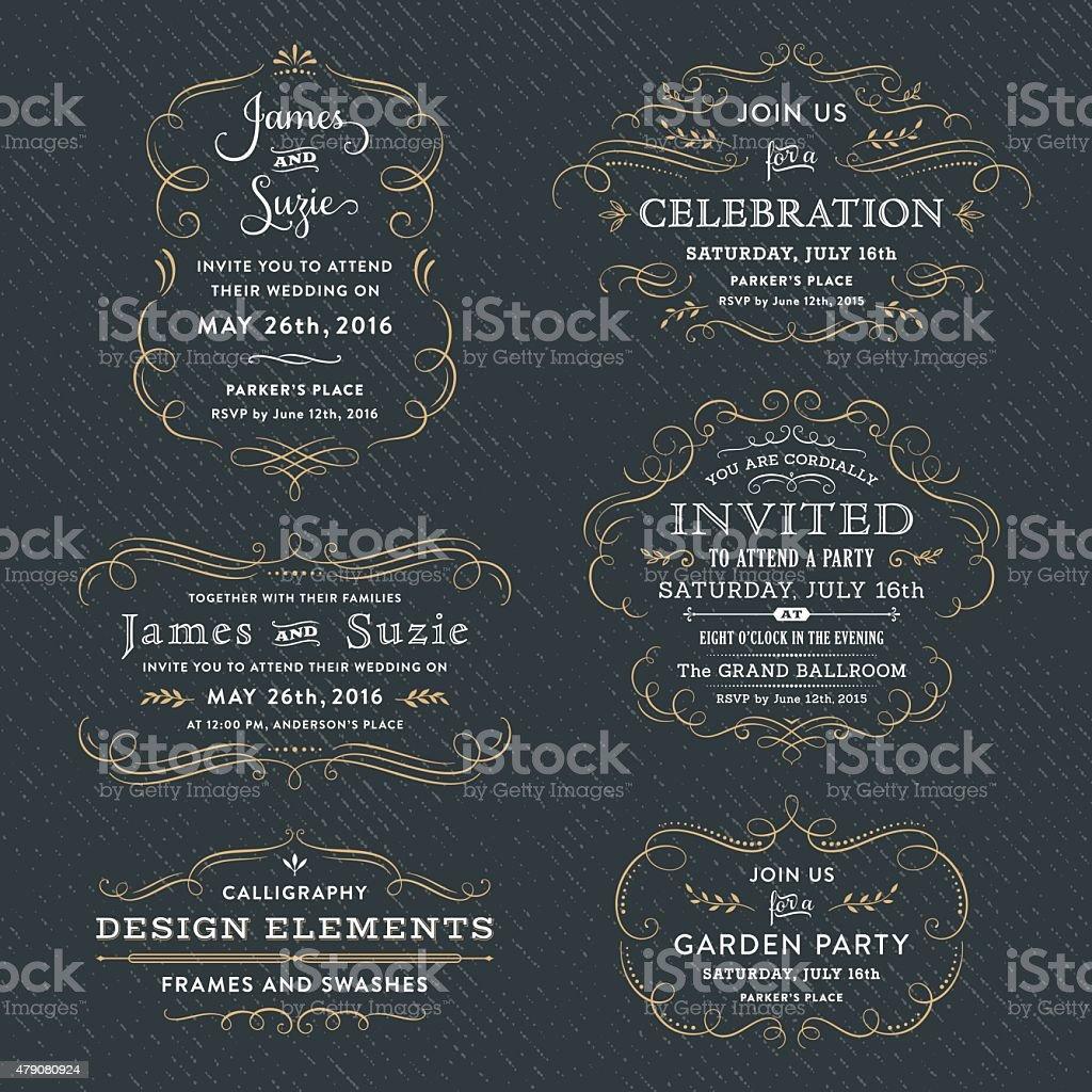 Calligraphy Party, Wedding Invitations vector art illustration