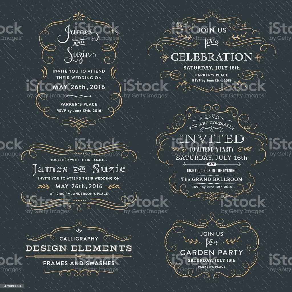 Calligraphy Party, Wedding Invitations vector art illustration