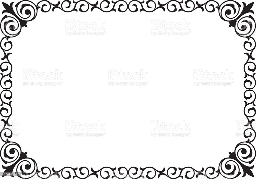 calligraphy penmanship curly baroque frame black royalty-free stock vector art