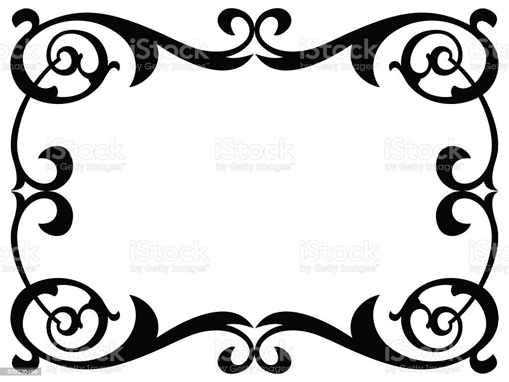 calligraphy penmanship curly baroque frame black vector art illustration