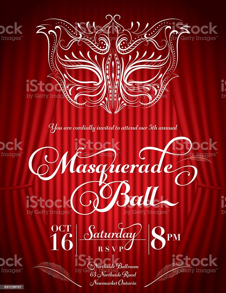 Calligraphy Style Masquerade Mask Invitation Red vector art illustration