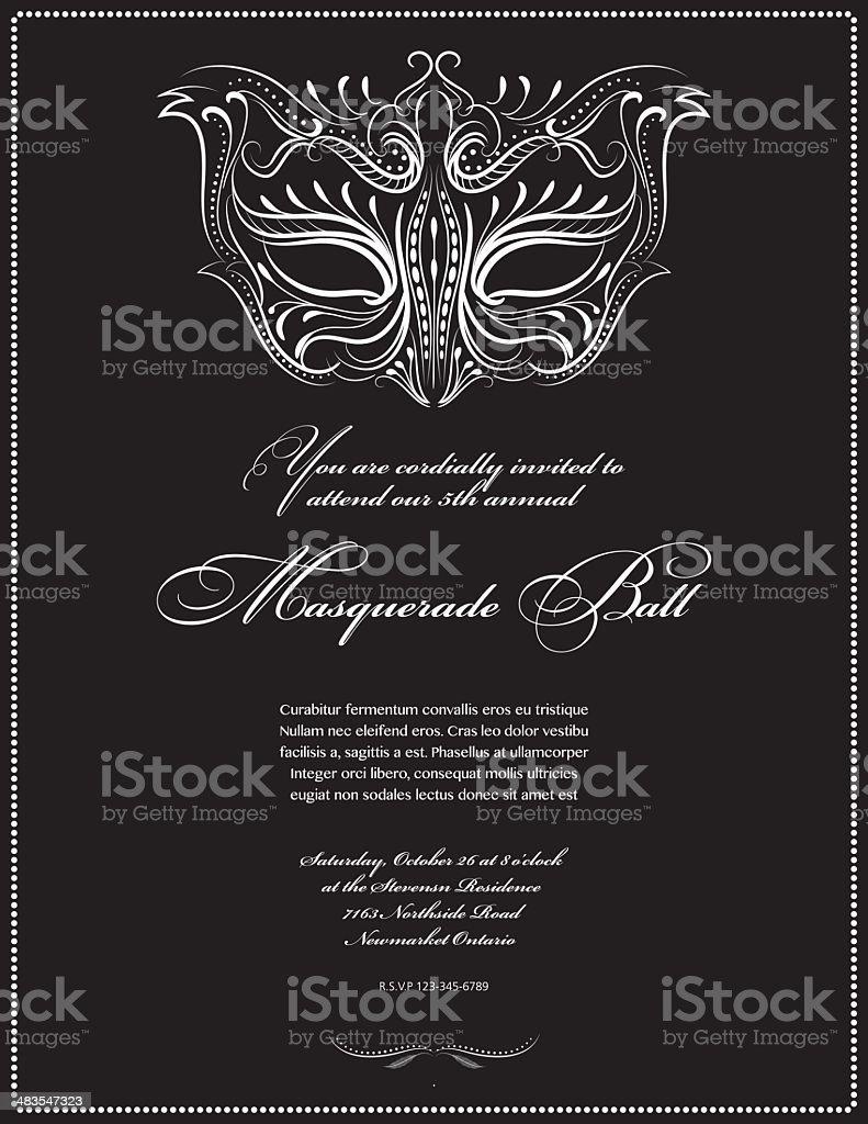 Calligraphy Style Masquerade Mask Invitation royalty-free stock vector art