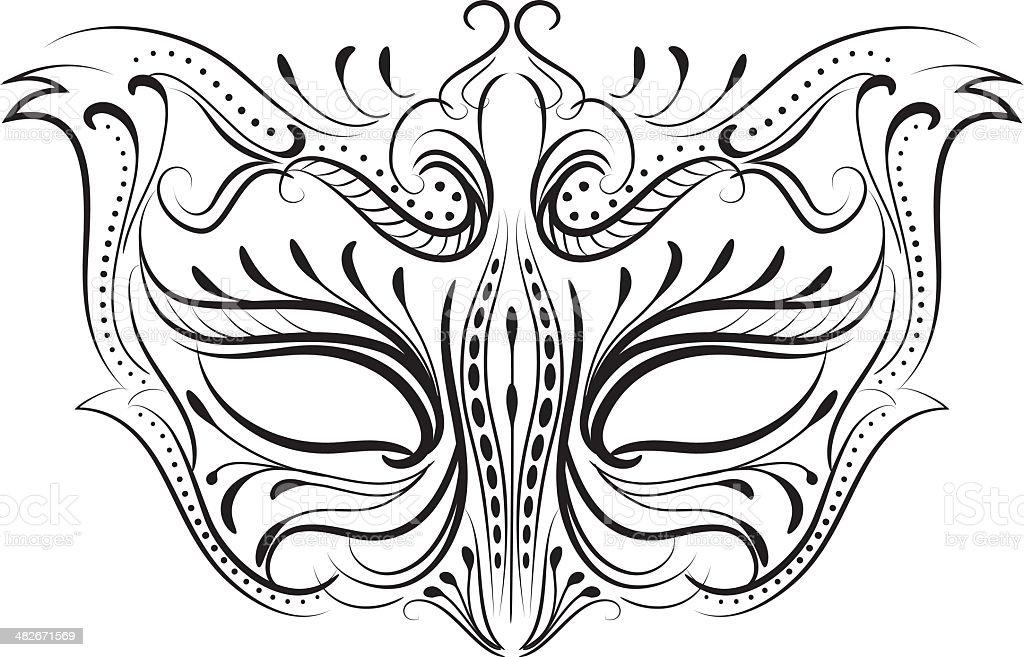 Calligraphy Style Masquerade Mask vector art illustration