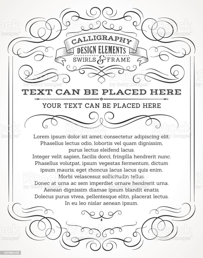Calligraphy Swirls Invitation vector art illustration