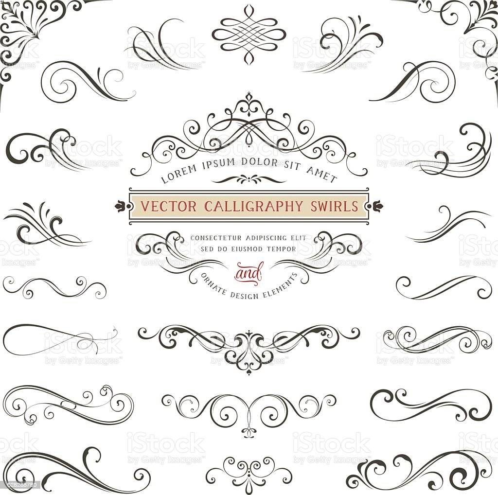 Calligraphy Swirls vector art illustration