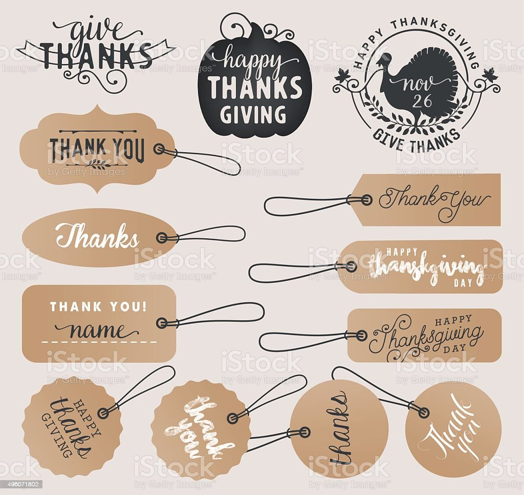 Calligraphy Thank You Tags and Thanksgiving Badges in Vintage Style vector art illustration