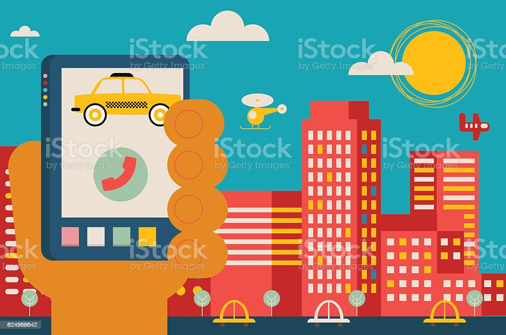 Calling a Taxi vector art illustration