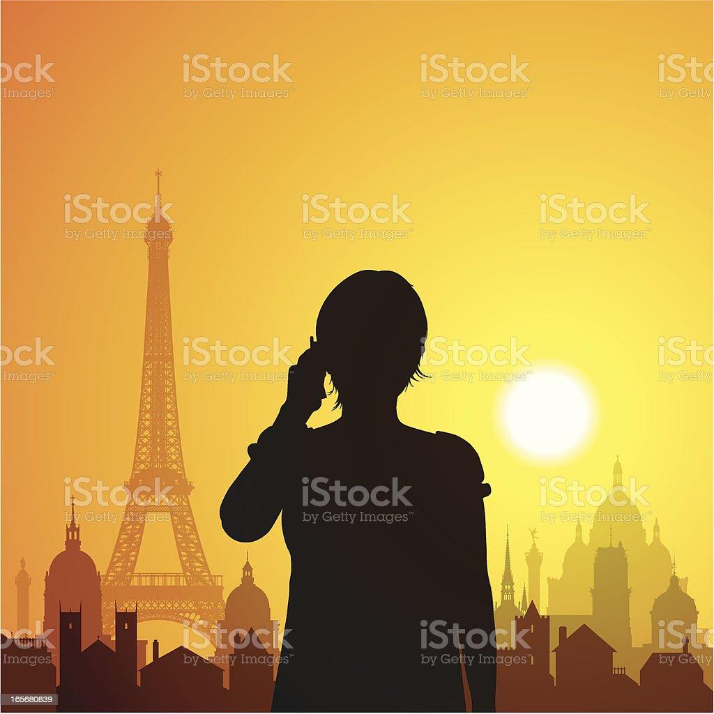 Calling in Paris royalty-free stock vector art