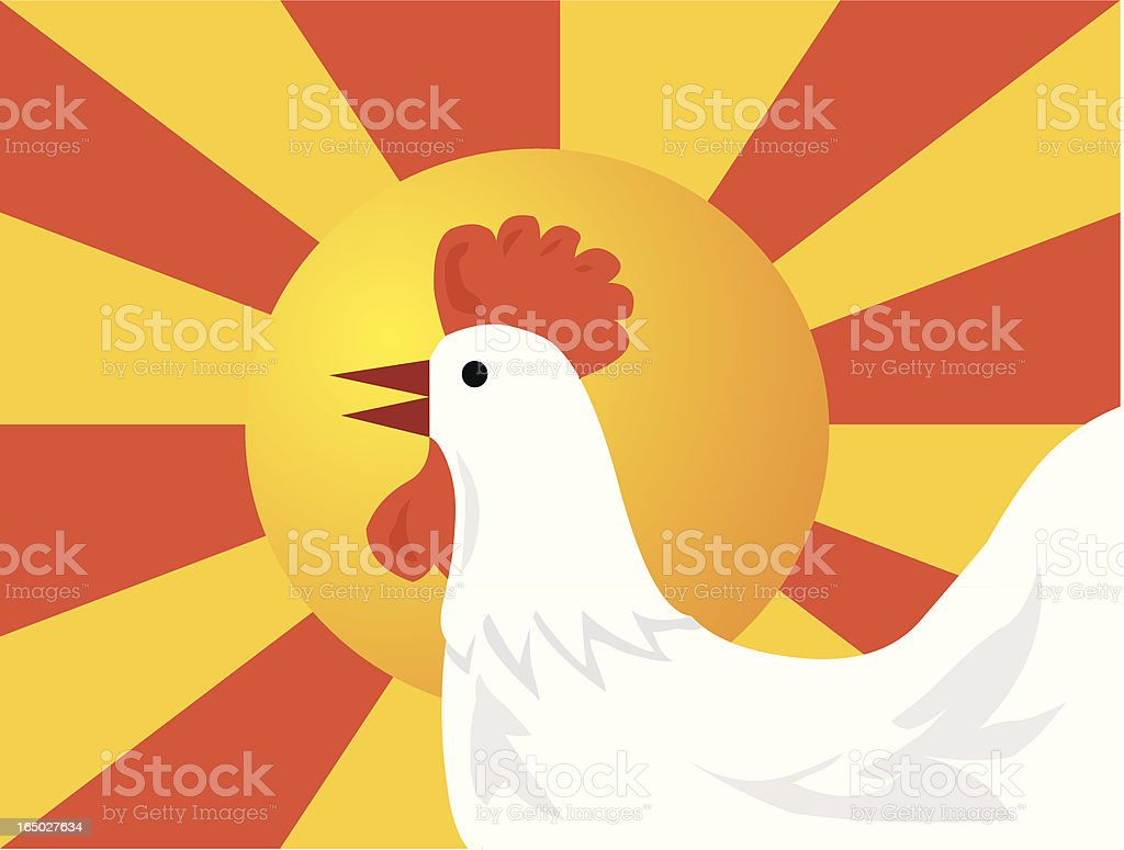 Calling The Cock at morning royalty-free stock vector art