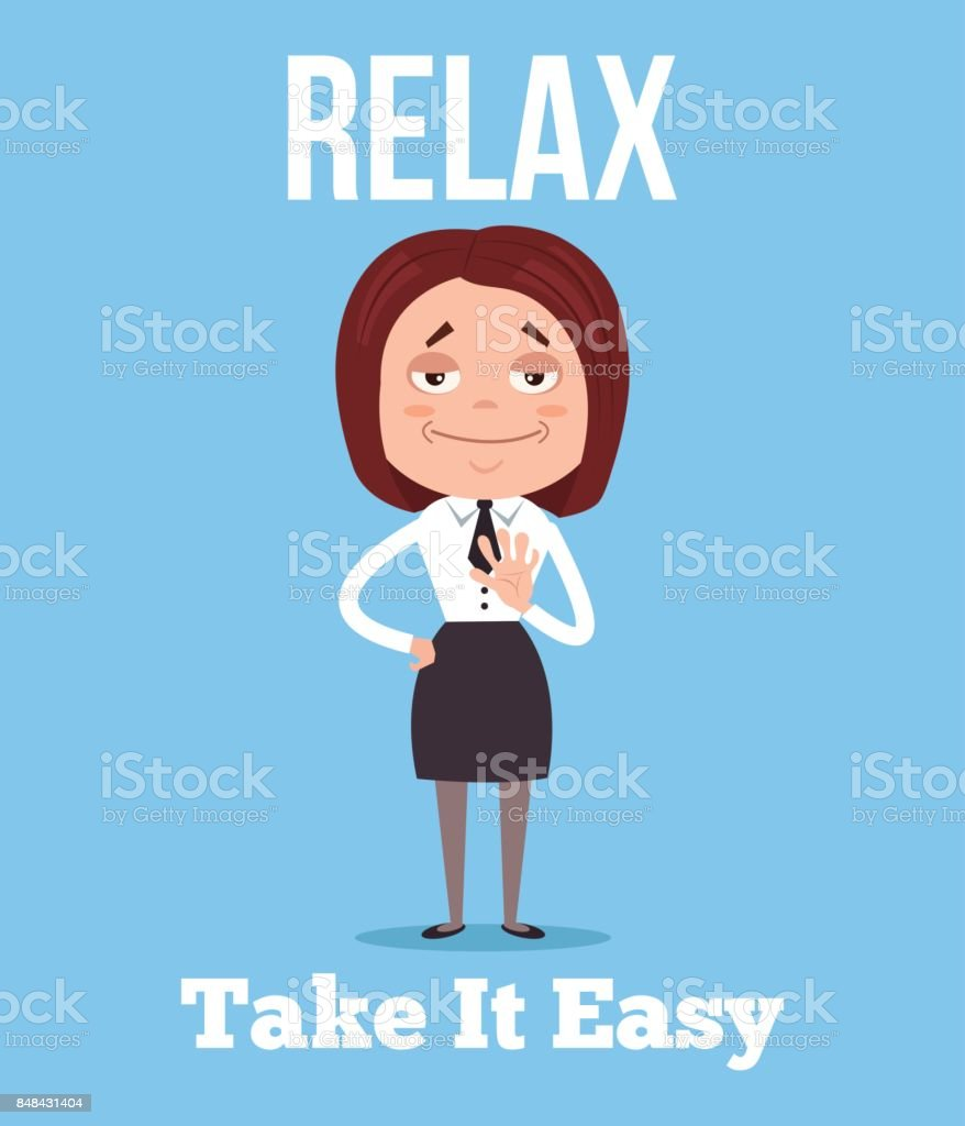 Calm and relax office worker business woman character vector art illustration