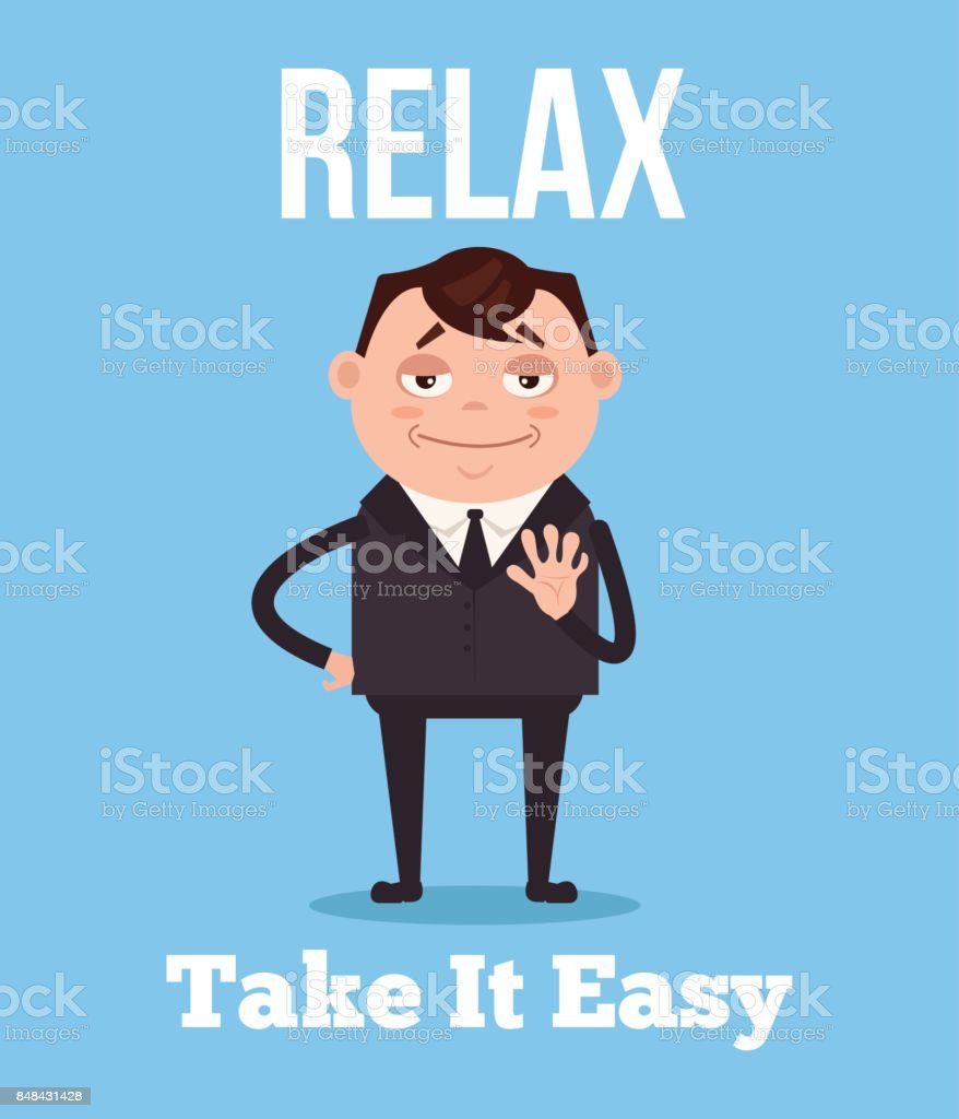 Calm and relax office worker businessman character vector art illustration
