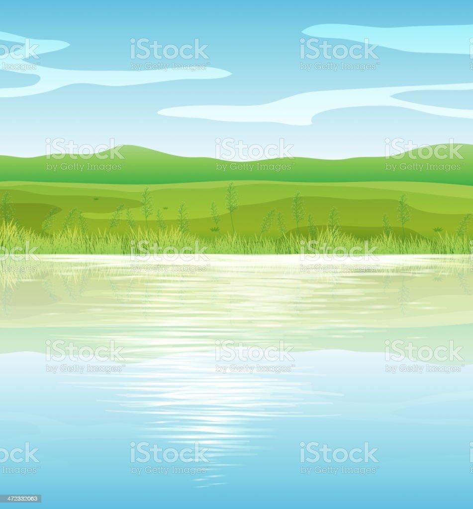 Calm blue lake vector art illustration
