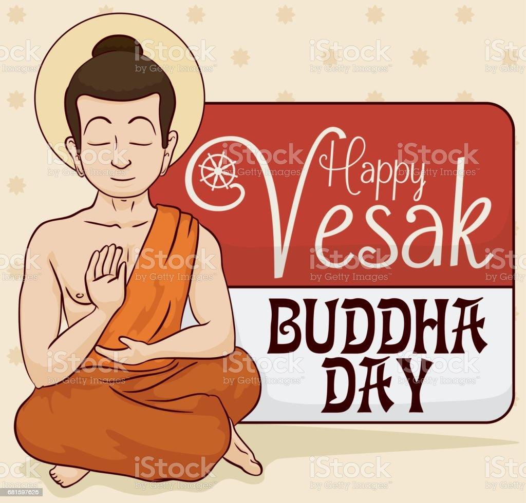 Calm Buddha Meditating with a Loose-leaf Calendar for Vesak vector art illustration