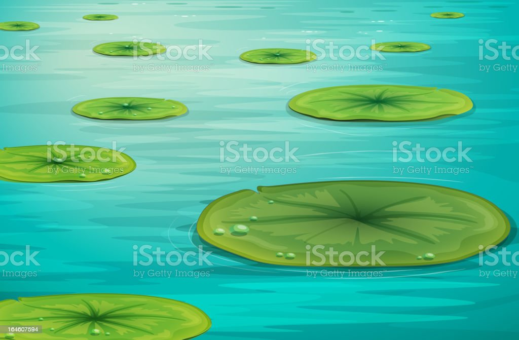 Calm pond scene royalty-free stock vector art