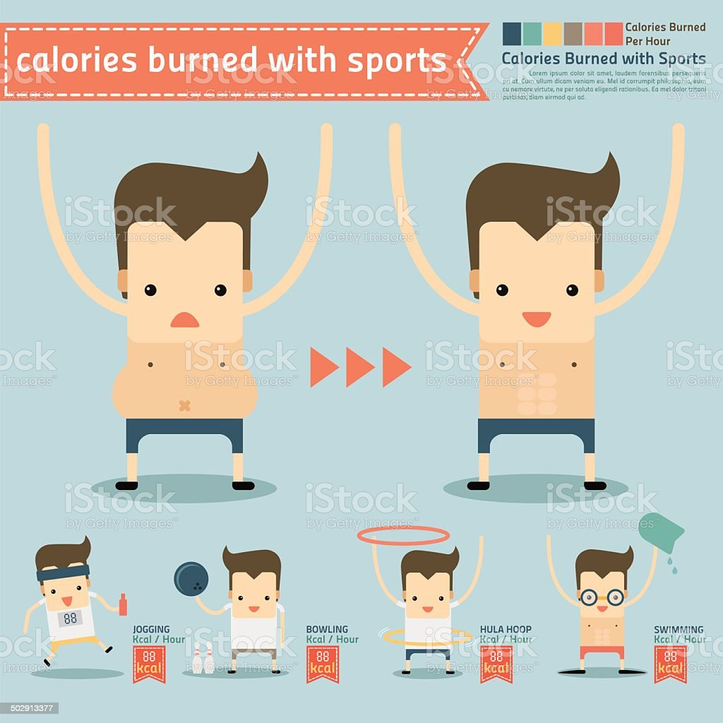 calories burned with sports infographics vector art illustration