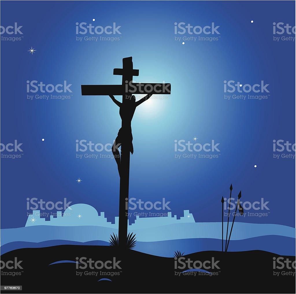 Calvary - crucifixion scene with Jesus Christ on cross royalty-free stock vector art