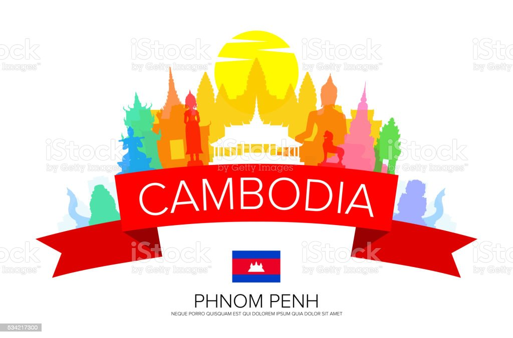 Cambodia Phnom Penh Travel vector art illustration