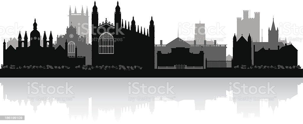 Cambridge England city skyline vector silhouette vector art illustration