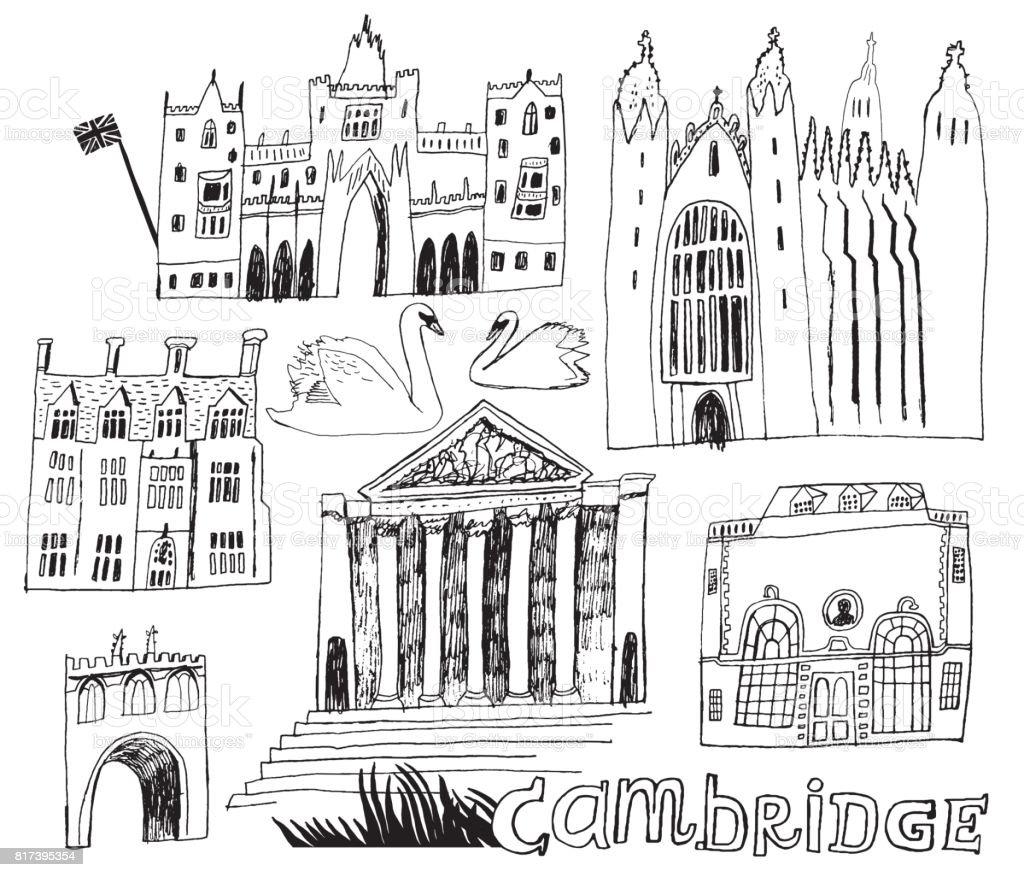 Cambridge England set of buildings vector art illustration