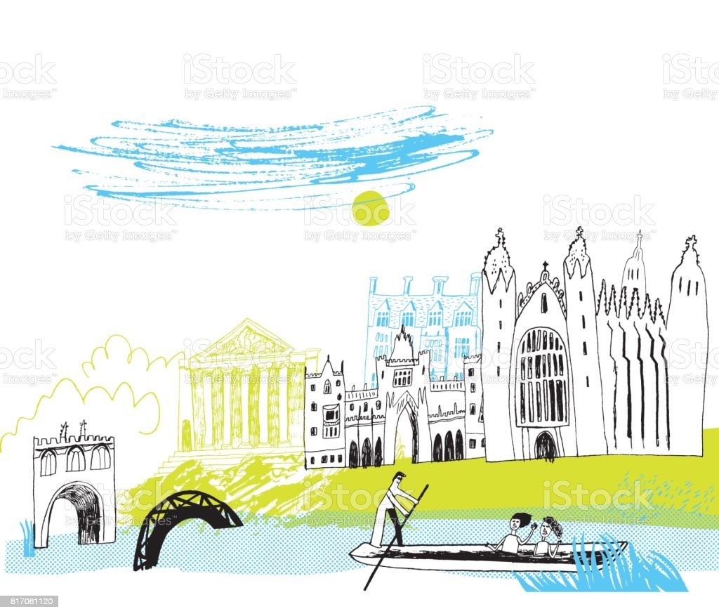 Cambridge England vector art illustration