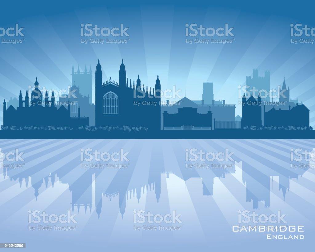 Cambridge UK city skyline silhouette vector art illustration