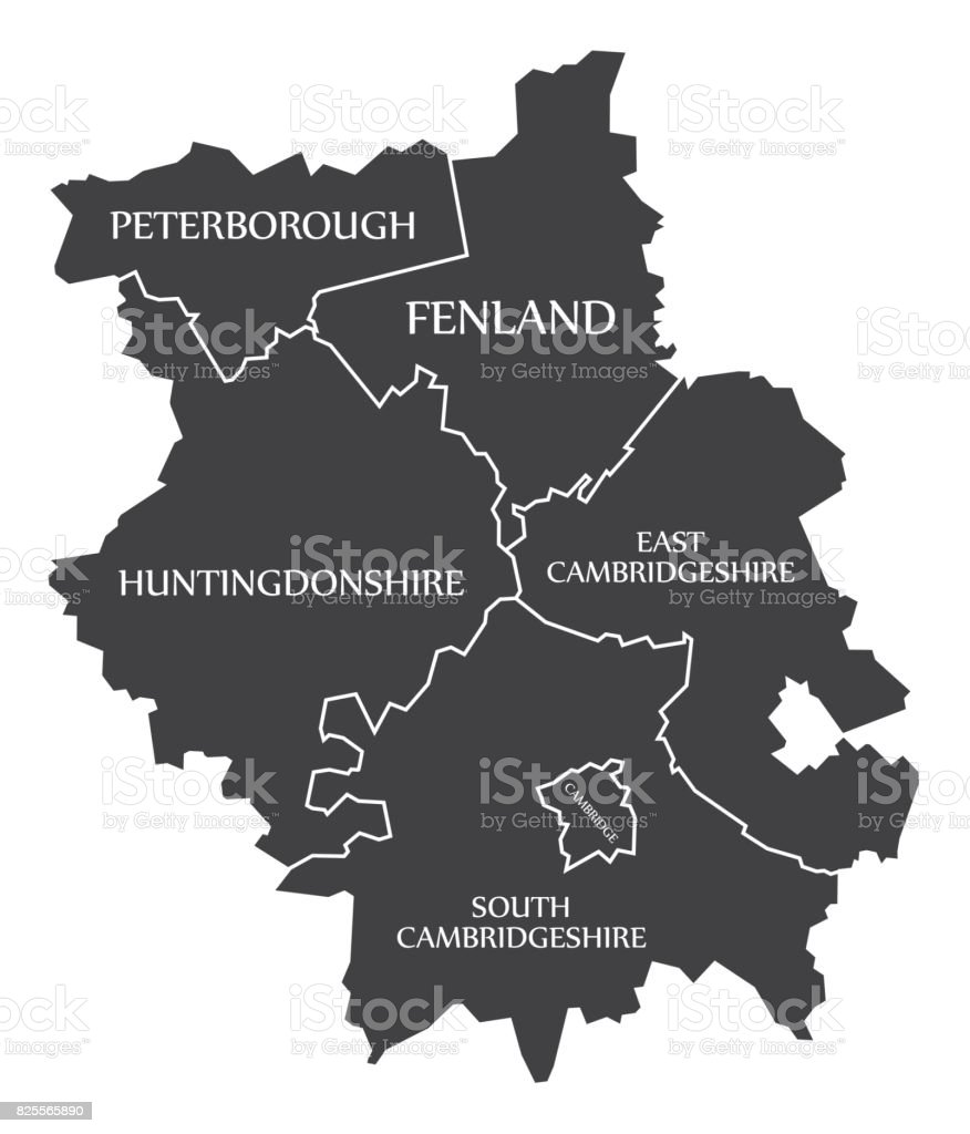 Cambridgeshire county England UK black map with white labels illustration vector art illustration