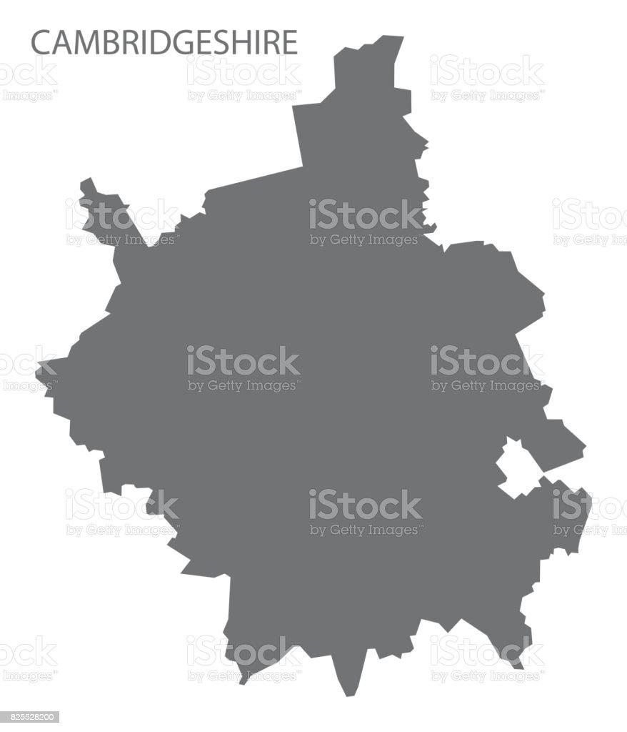 Cambridgeshire county map England UK grey illustration silhouette shape vector art illustration