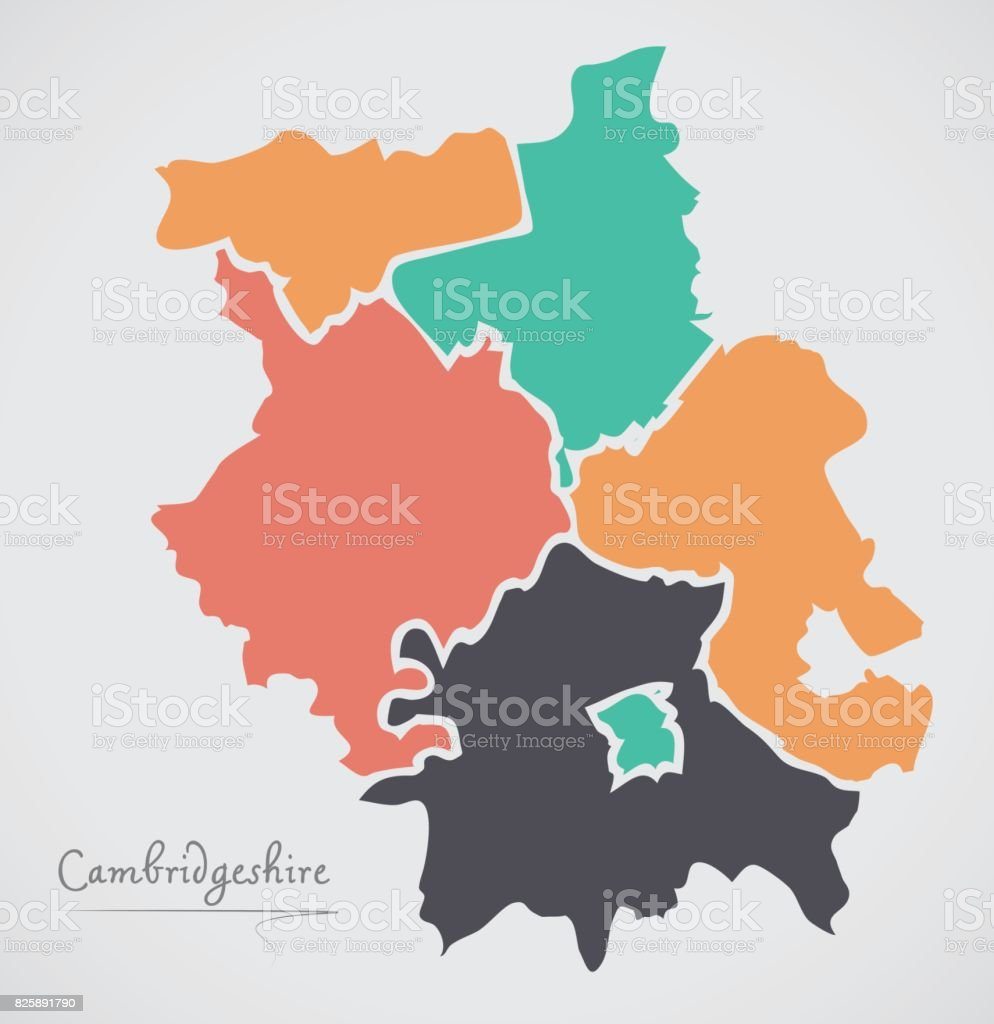 Cambridgeshire England Map with states and modern round shapes vector art illustration