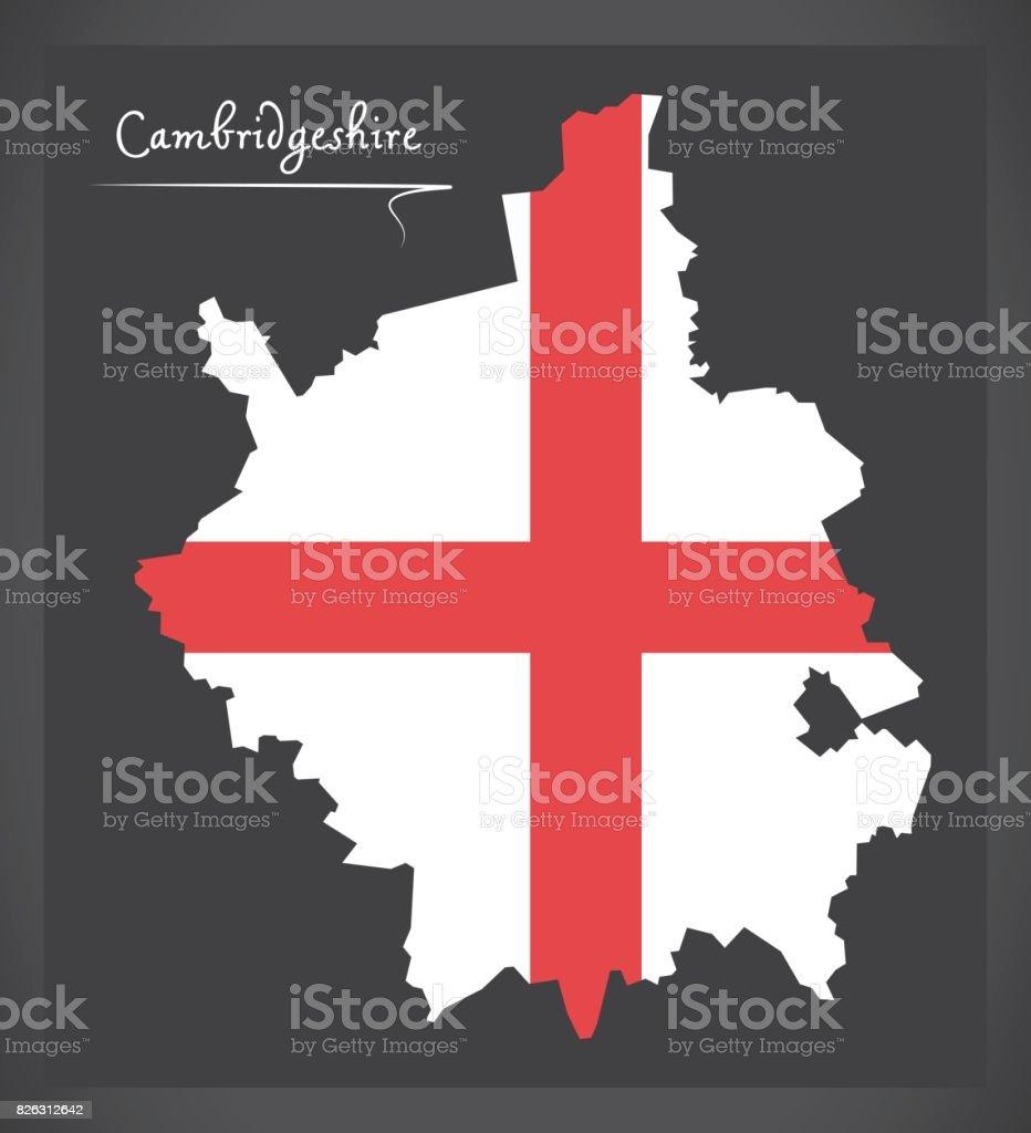 Cambridgeshire map England UK with English national flag illustration vector art illustration