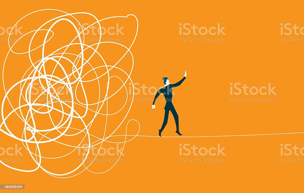 Came out of the tangle. Difficult situation vector art illustration