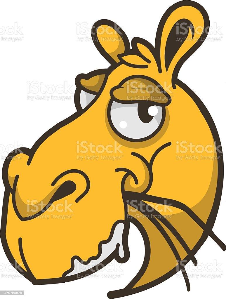 Camel head isolated vector art illustration