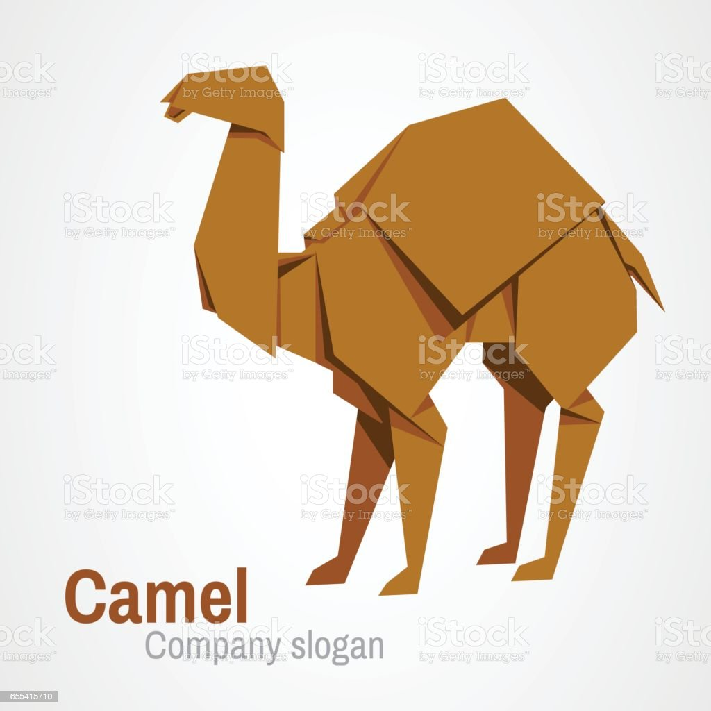Camel origami vector art illustration