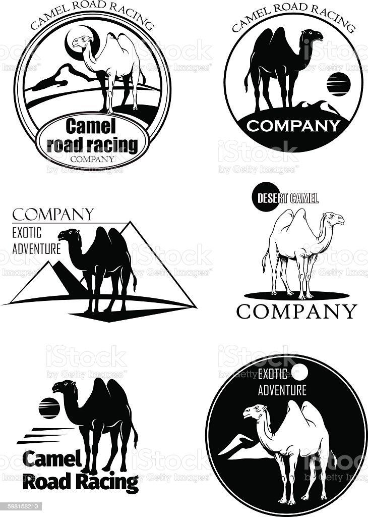 camel ride, camel, emblem vector art illustration