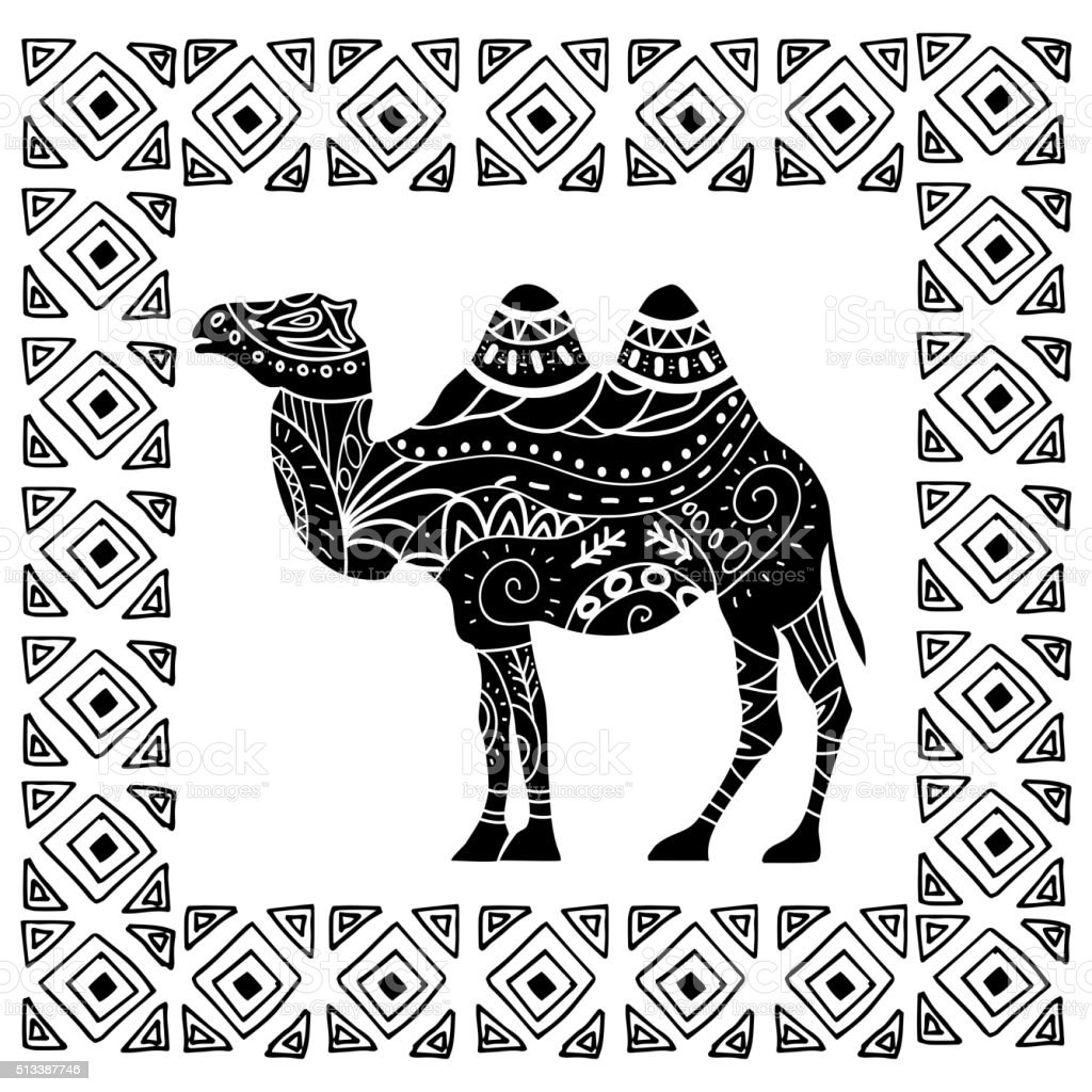 camel silhouette with tribal ornaments isolated vector art illustration