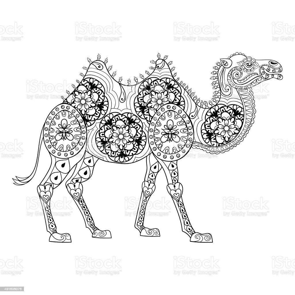 Anti stress colouring book free - Camel Totem For Adult Anti Stress Coloring Page Royalty Free Stock Vector Art