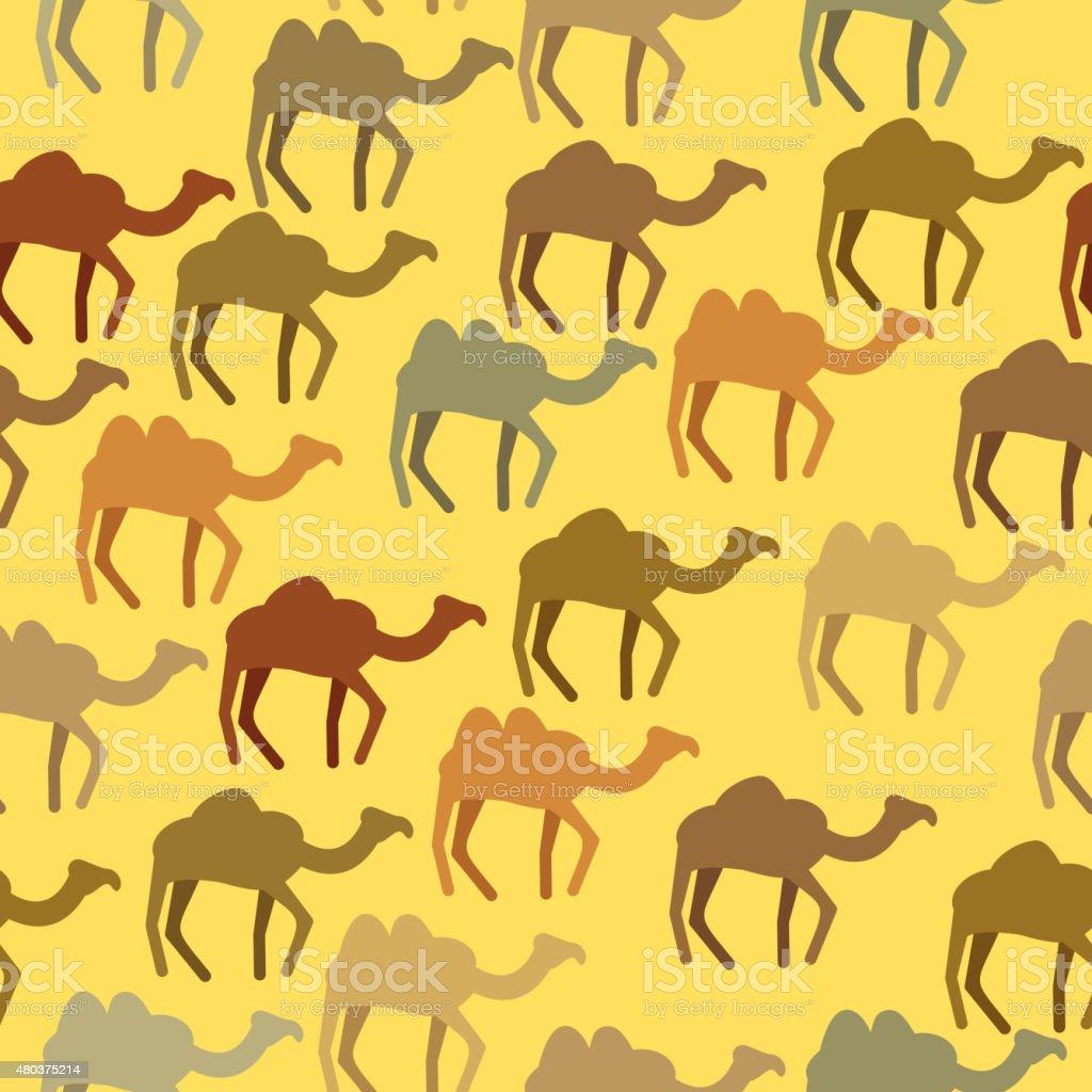 Camels seamless pattern. Background of desert animals. Vector or vector art illustration