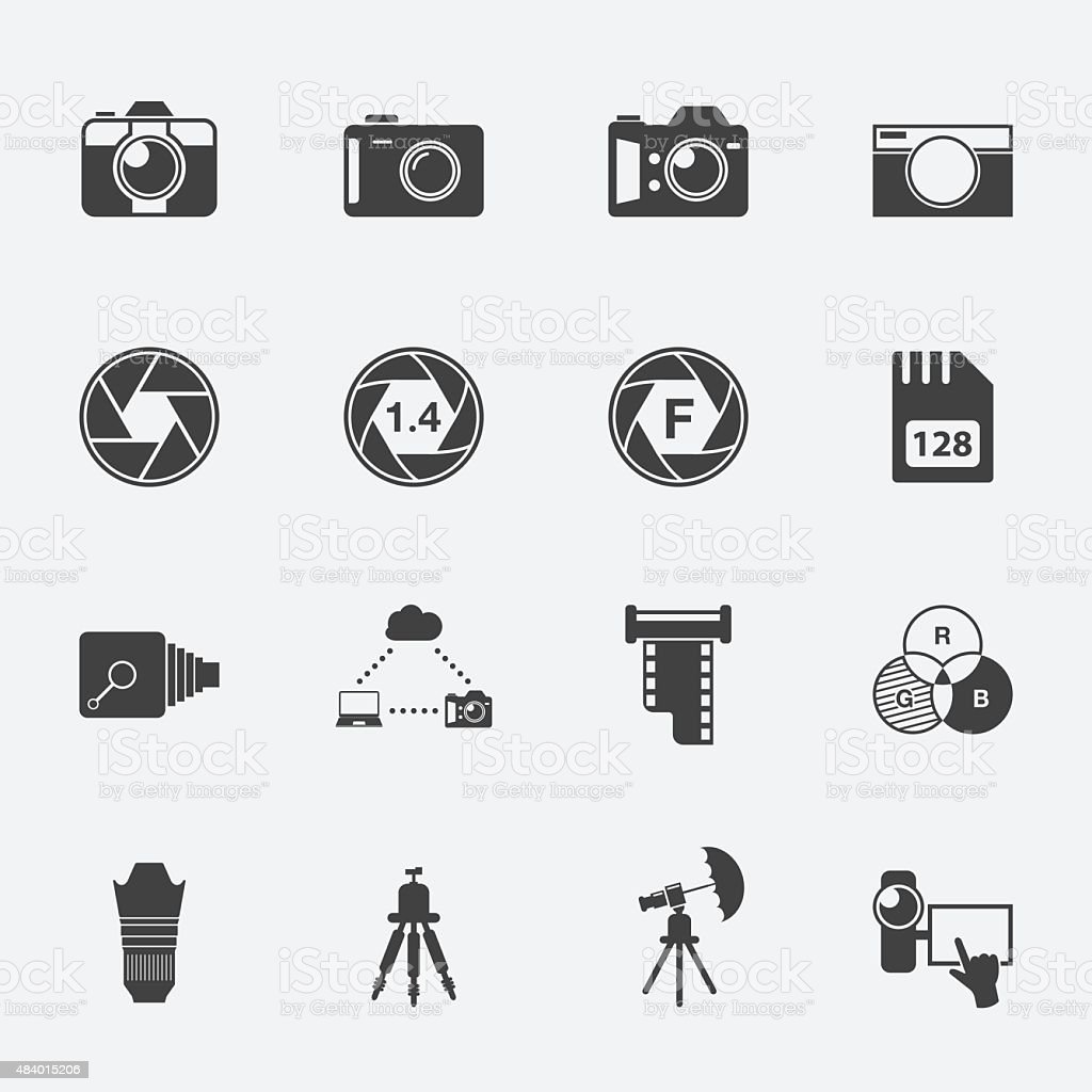 Camera and accessories icon set. vector art illustration