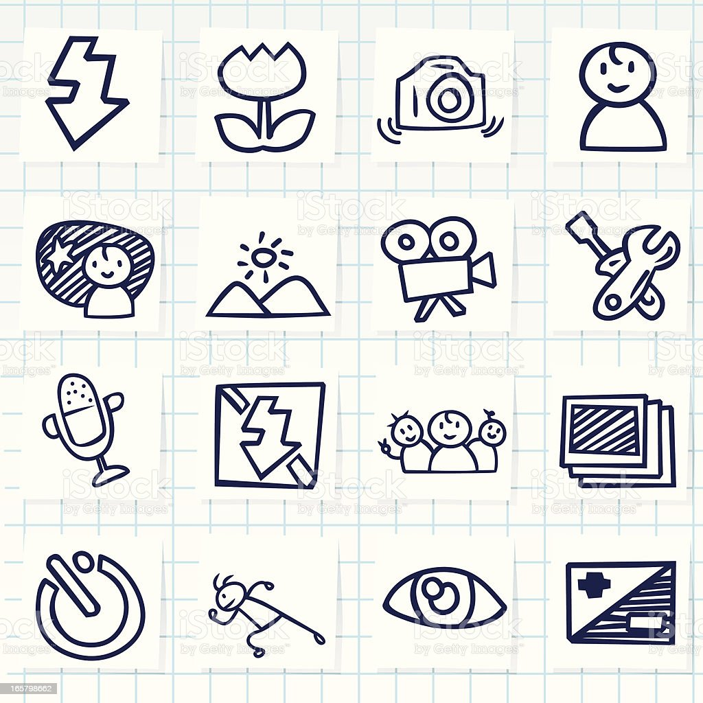 Camera and editing function menu icons vector art illustration